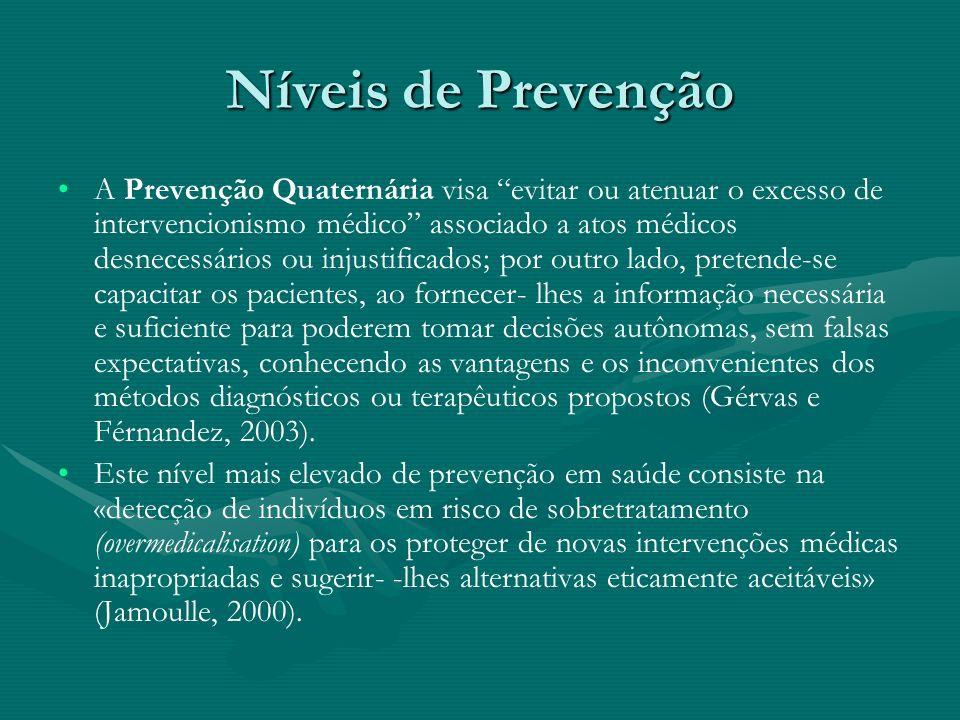 Níveis de Prevenção A Prevenção Quaternária visa evitar ou atenuar o excesso de intervencionismo médico associado a atos médicos desnecessários ou inj