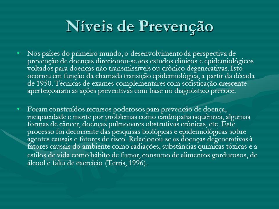 Níveis de Prevenção Nos países do primeiro mundo, o desenvolvimento da perspectiva de prevenção de doenças direcionou-se aos estudos clínicos e epidem