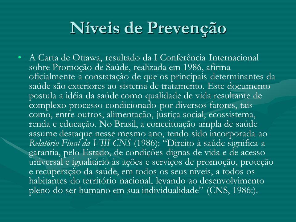 Níveis de Prevenção A Carta de Ottawa, resultado da I Conferência Internacional sobre Promoção de Saúde, realizada em 1986, afirma oficialmente a cons