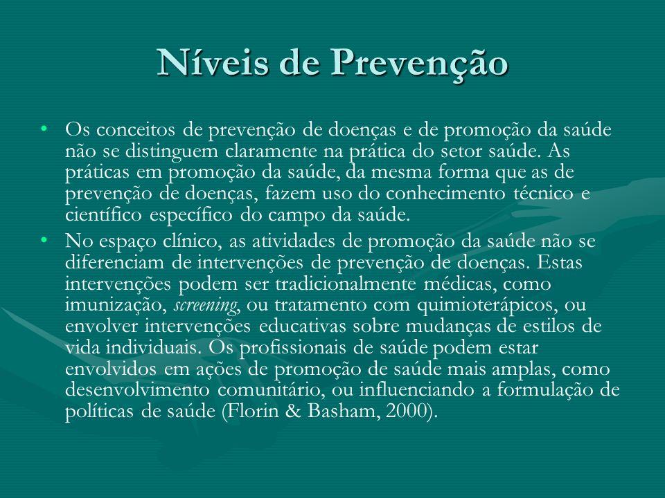 Níveis de Prevenção Os conceitos de prevenção de doenças e de promoção da saúde não se distinguem claramente na prática do setor saúde. As práticas em