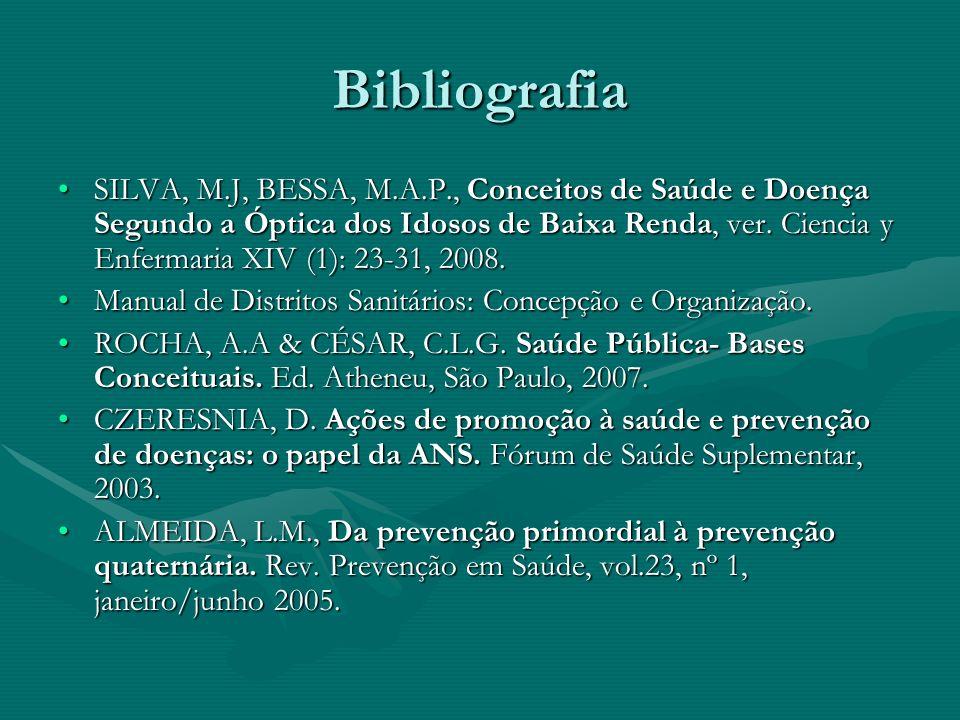 Bibliografia SILVA, M.J, BESSA, M.A.P., Conceitos de Saúde e Doença Segundo a Óptica dos Idosos de Baixa Renda, ver. Ciencia y Enfermaria XIV (1): 23-
