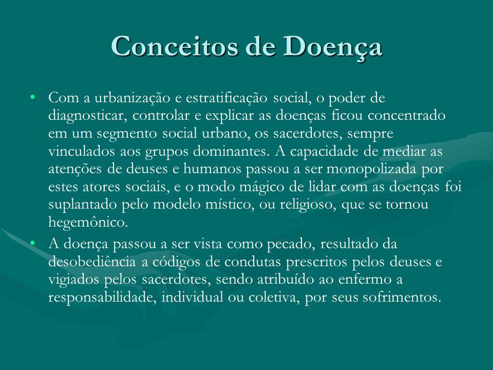 Conceitos de Doença Assim, diversas concepções de saúde e doença podem coexistir, através da persistência de modelos antigos, mas que ainda atendem a necessidades atuais.