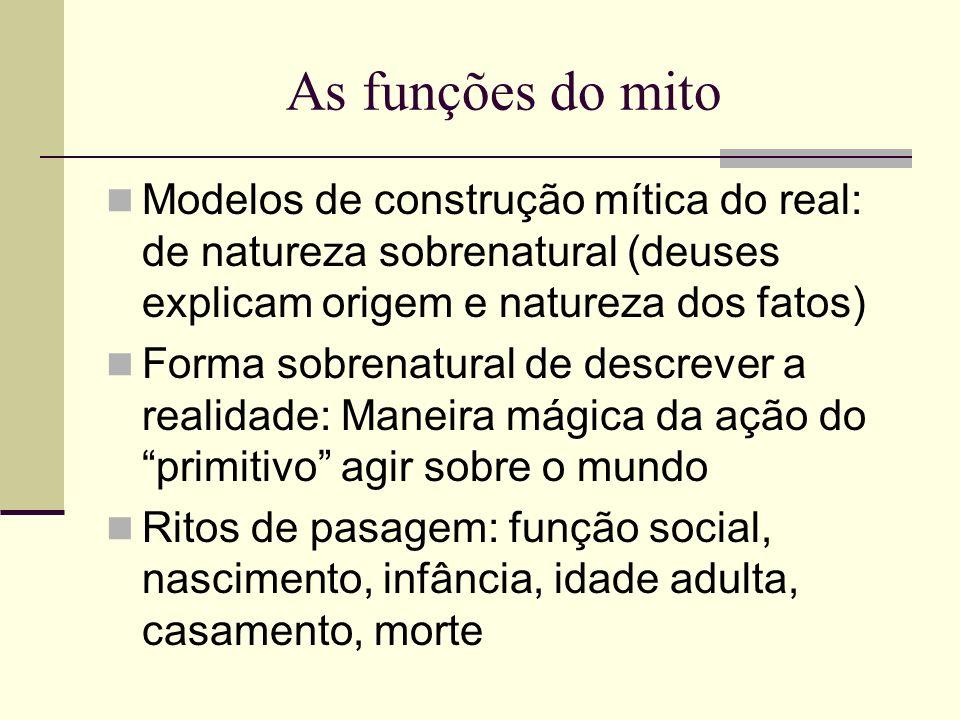As funções do mito Modelos de construção mítica do real: de natureza sobrenatural (deuses explicam origem e natureza dos fatos) Forma sobrenatural de