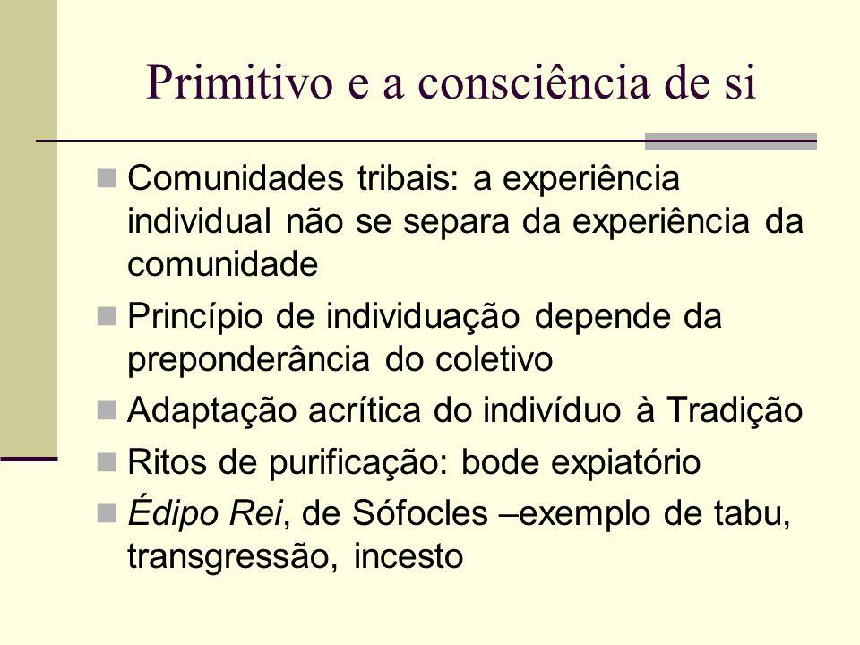 Primitivo e a consciência de si Comunidades tribais: a experiência individual não se separa da experiência da comunidade Princípio de individuação dep