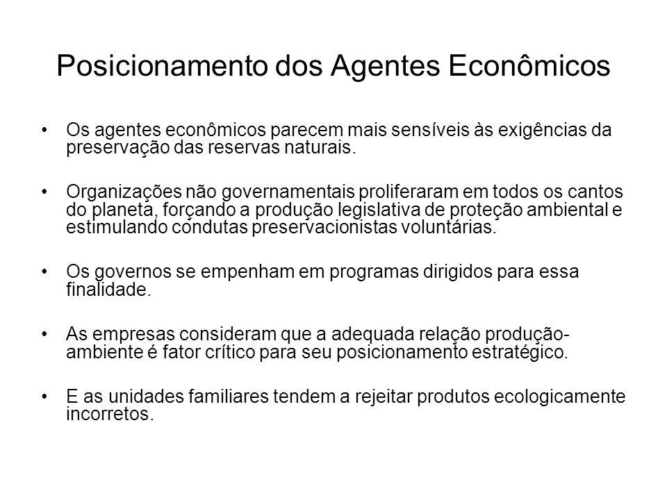 Posicionamento dos Agentes Econômicos Os agentes econômicos parecem mais sensíveis às exigências da preservação das reservas naturais. Organizações nã