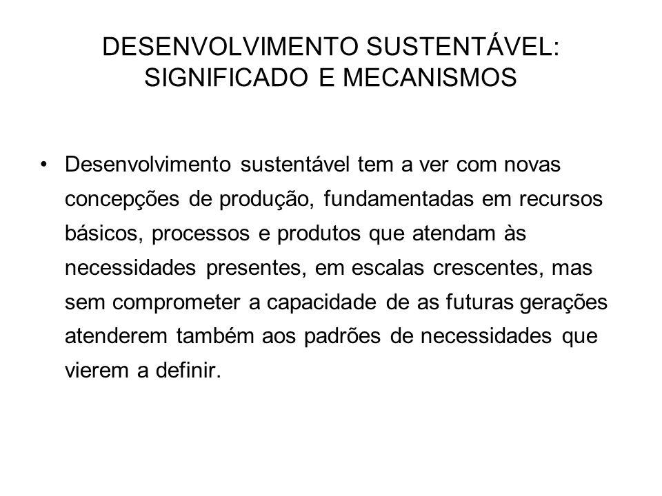 DESENVOLVIMENTO SUSTENTÁVEL: SIGNIFICADO E MECANISMOS Desenvolvimento sustentável tem a ver com novas concepções de produção, fundamentadas em recurso