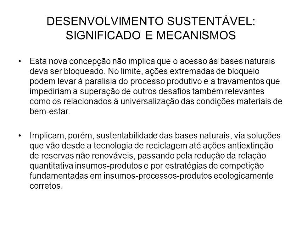 DESENVOLVIMENTO SUSTENTÁVEL: SIGNIFICADO E MECANISMOS Esta nova concepção não implica que o acesso às bases naturais deva ser bloqueado. No limite, aç