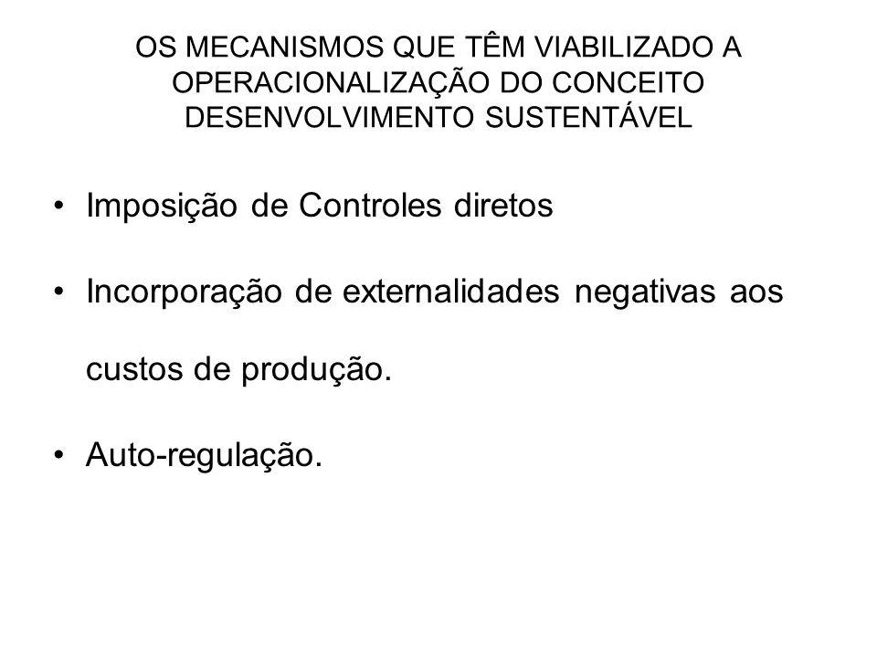OS MECANISMOS QUE TÊM VIABILIZADO A OPERACIONALIZAÇÃO DO CONCEITO DESENVOLVIMENTO SUSTENTÁVEL Imposição de Controles diretos Incorporação de externali