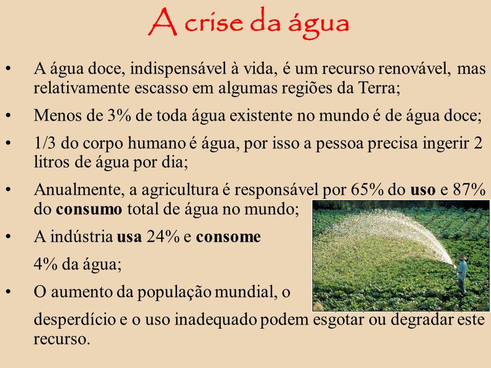 A crise da água A água doce, indispensável à vida, é um recurso renovável, mas relativamente escasso em algumas regiões da Terra; Menos de 3% de toda
