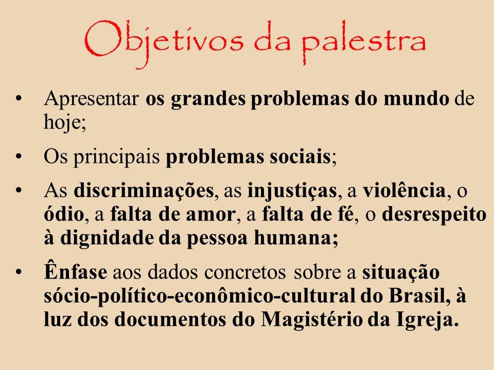Apresentar os grandes problemas do mundo de hoje; Os principais problemas sociais; As discriminações, as injustiças, a violência, o ódio, a falta de a