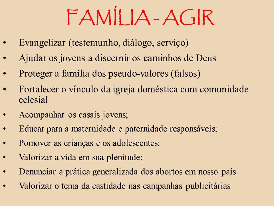 FAMÍLIA - AGIR Evangelizar (testemunho, diálogo, serviço) Ajudar os jovens a discernir os caminhos de Deus Proteger a família dos pseudo-valores (fals