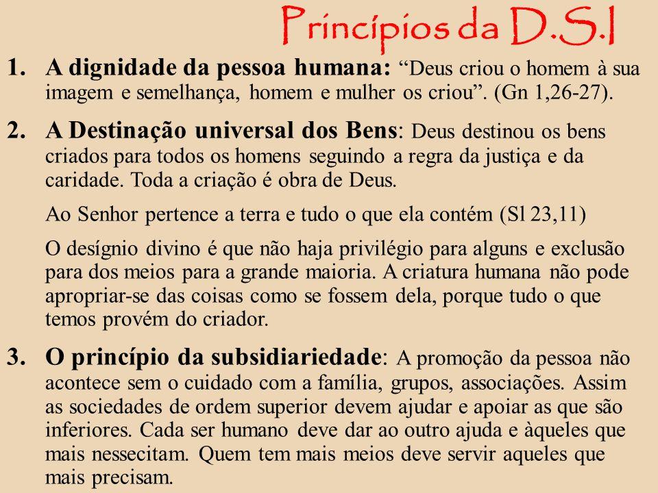 Princípios da D.S.I 1. A dignidade da pessoa humana: Deus criou o homem à sua imagem e semelhança, homem e mulher os criou. (Gn 1,26-27). 2. A Destina