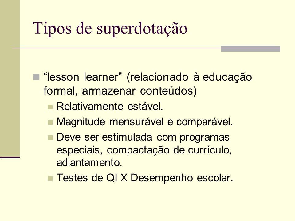 Tipos de superdotação lesson learner (relacionado à educação formal, armazenar conteúdos) Relativamente estável. Magnitude mensurável e comparável. De