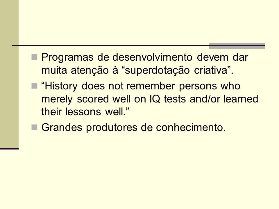 Programas de desenvolvimento devem dar muita atenção à superdotação criativa. History does not remember persons who merely scored well on IQ tests and