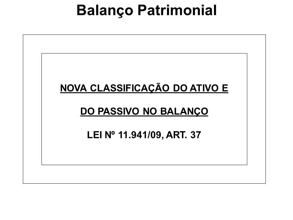 Balanço Patrimonial NOVA CLASSIFICAÇÃO DO ATIVO E DO PASSIVO NO BALANÇO LEI Nº 11.941/09, ART. 37
