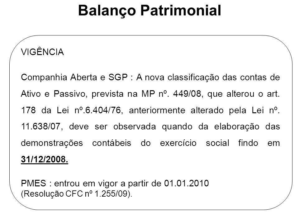 Balanço Patrimonial VIGÊNCIA Companhia Aberta e SGP : A nova classificação das contas de Ativo e Passivo, prevista na MP nº. 449/08, que alterou o art