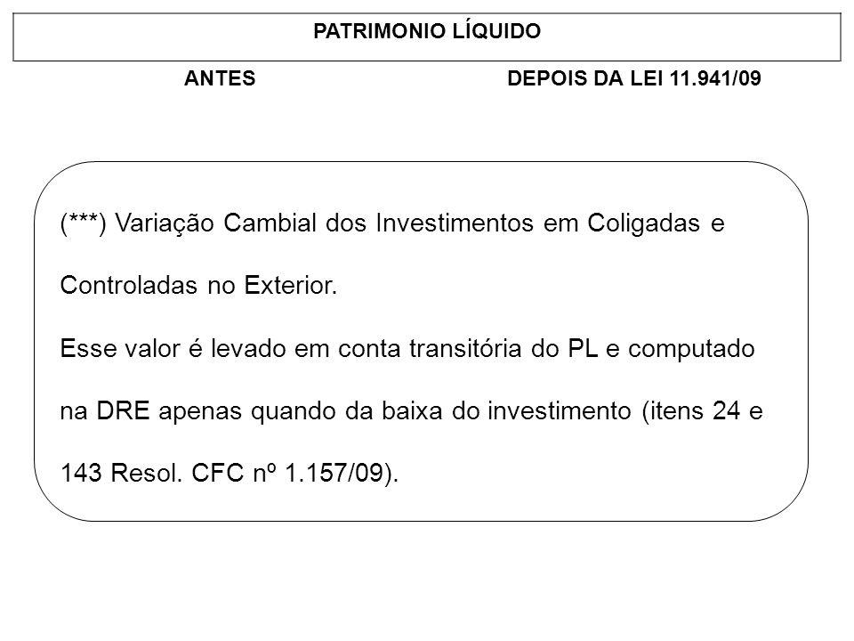 PATRIMONIO LÍQUIDO ANTESDEPOIS DA LEI 11.941/09 (***) Variação Cambial dos Investimentos em Coligadas e Controladas no Exterior. Esse valor é levado e