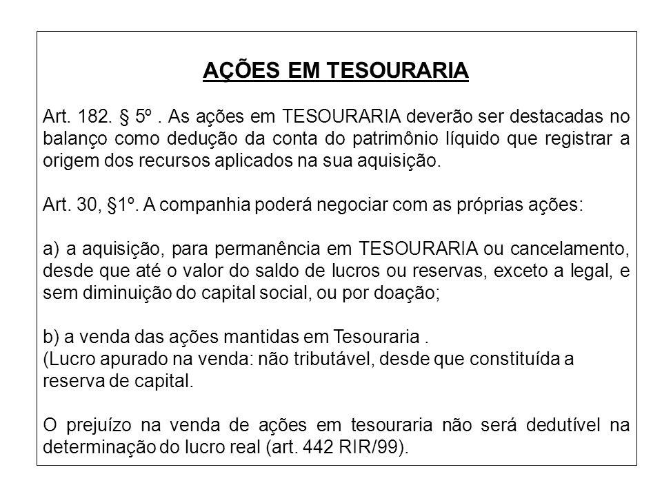 AÇÕES EM TESOURARIA Art. 182. § 5º. As ações em TESOURARIA deverão ser destacadas no balanço como dedução da conta do patrimônio líquido que registrar
