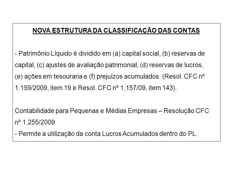 NOVA ESTRUTURA DA CLASSIFICAÇÃO DAS CONTAS - Patrimônio Líquido é dividido em (a) capital social, (b) reservas de capital, (c) ajustes de avaliação pa