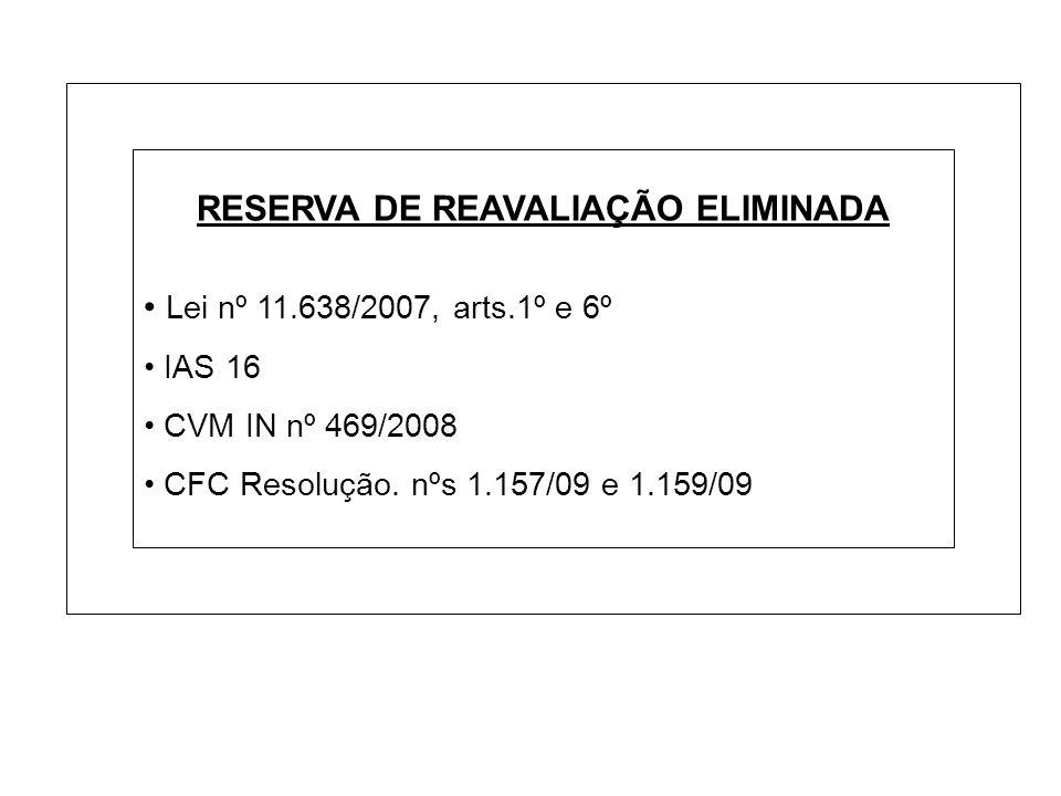 RESERVA DE REAVALIAÇÃO ELIMINADA Lei nº 11.638/2007, arts.1º e 6º IAS 16 CVM IN nº 469/2008 CFC Resolução. nºs 1.157/09 e 1.159/09
