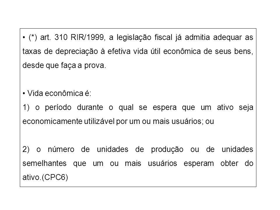(*) art. 310 RIR/1999, a legislação fiscal já admitia adequar as taxas de depreciação à efetiva vida útil econômica de seus bens, desde que faça a pro