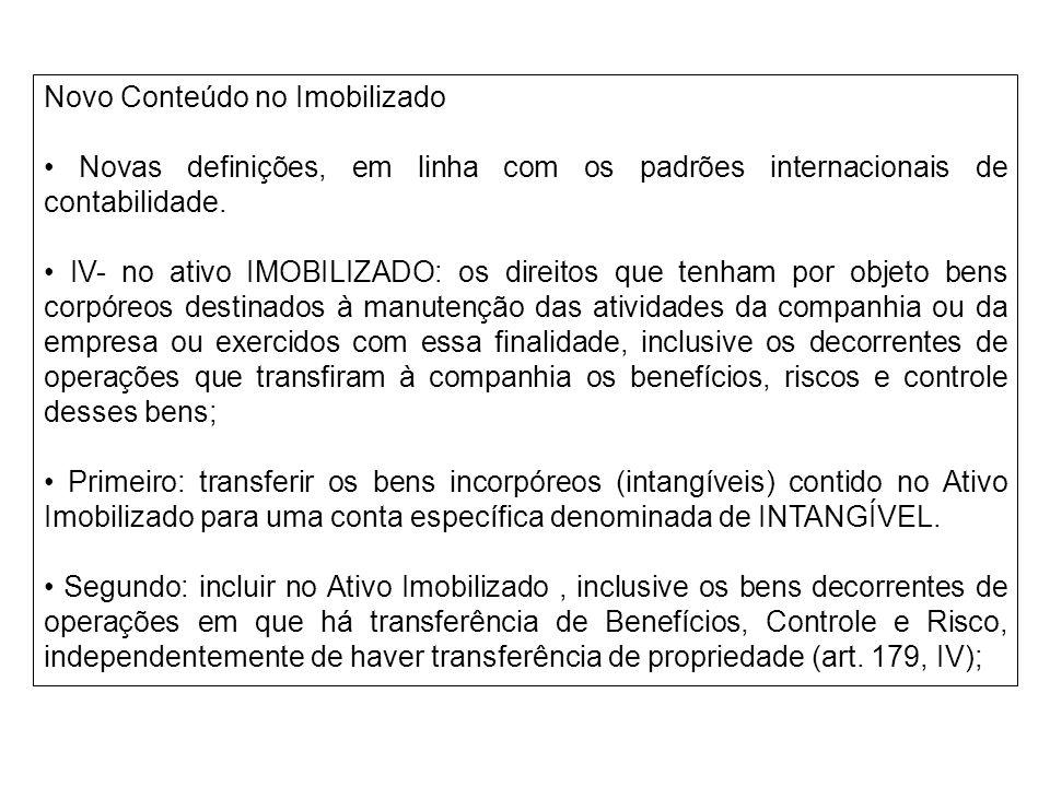 Novo Conteúdo no Imobilizado Novas definições, em linha com os padrões internacionais de contabilidade. IV- no ativo IMOBILIZADO: os direitos que tenh