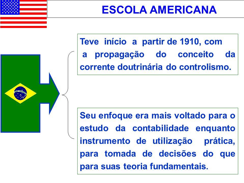 ESCOLA AMERICANA Teve início a partir de 1910, com a propagação do conceito da corrente doutrinária do controlismo. Seu enfoque era mais voltado para