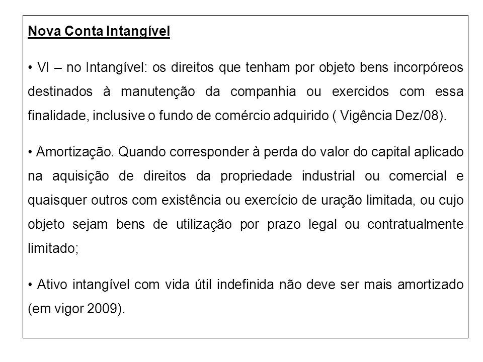 Nova Conta Intangível VI – no Intangível: os direitos que tenham por objeto bens incorpóreos destinados à manutenção da companhia ou exercidos com ess