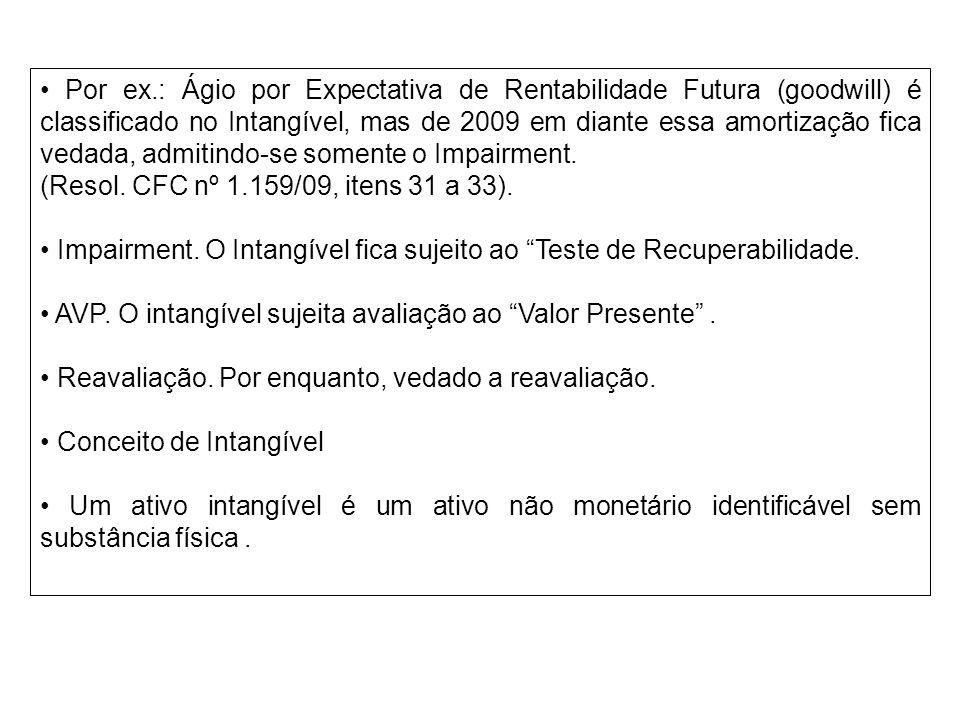 Por ex.: Ágio por Expectativa de Rentabilidade Futura (goodwill) é classificado no Intangível, mas de 2009 em diante essa amortização fica vedada, adm
