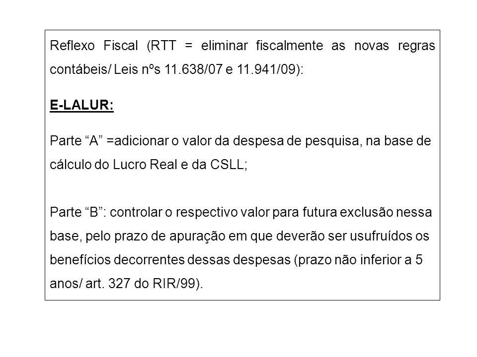 Reflexo Fiscal (RTT = eliminar fiscalmente as novas regras contábeis/ Leis nºs 11.638/07 e 11.941/09): E-LALUR: Parte A =adicionar o valor da despesa
