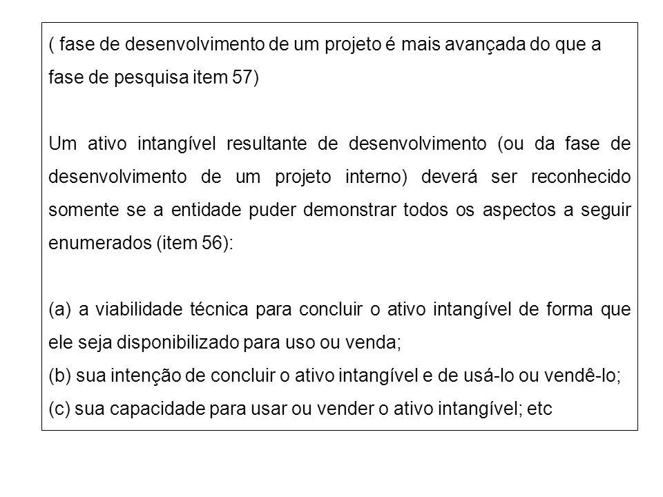 ( fase de desenvolvimento de um projeto é mais avançada do que a fase de pesquisa item 57) Um ativo intangível resultante de desenvolvimento (ou da fa