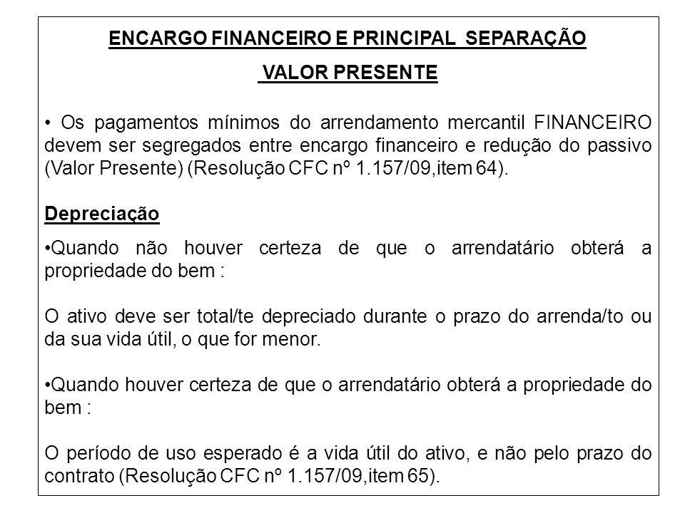 ENCARGO FINANCEIRO E PRINCIPAL SEPARAÇÃO VALOR PRESENTE Os pagamentos mínimos do arrendamento mercantil FINANCEIRO devem ser segregados entre encargo