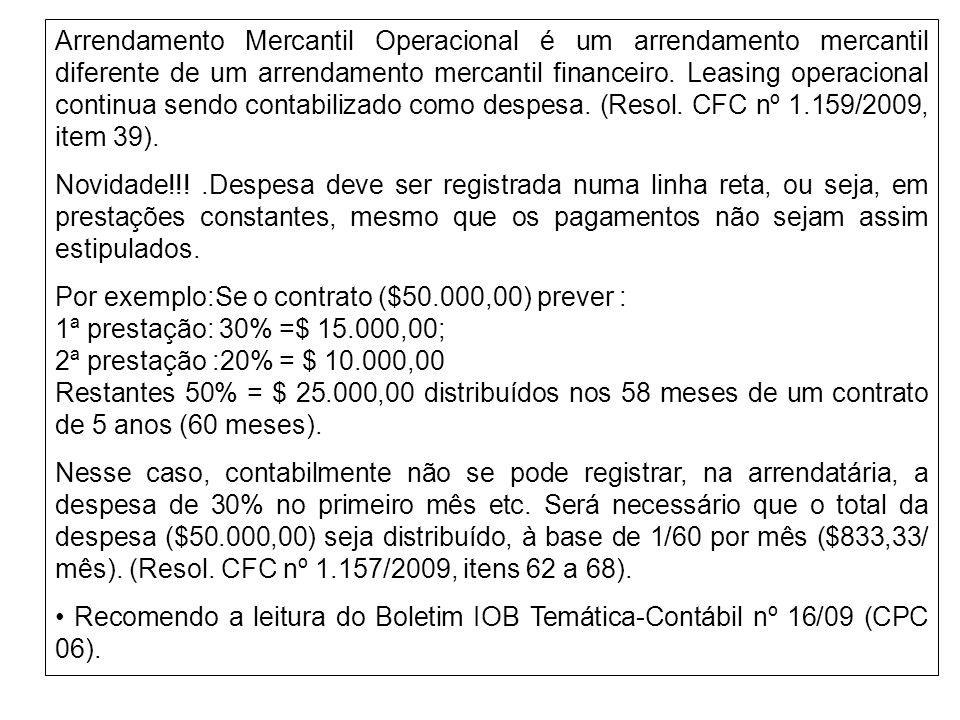 Arrendamento Mercantil Operacional é um arrendamento mercantil diferente de um arrendamento mercantil financeiro. Leasing operacional continua sendo c