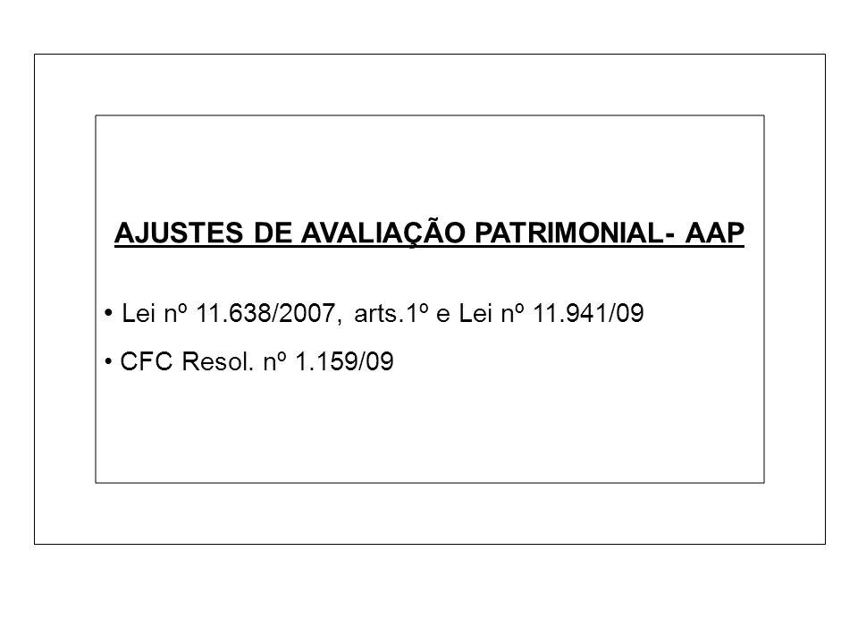 AJUSTES DE AVALIAÇÃO PATRIMONIAL- AAP Lei nº 11.638/2007, arts.1º e Lei nº 11.941/09 CFC Resol. nº 1.159/09