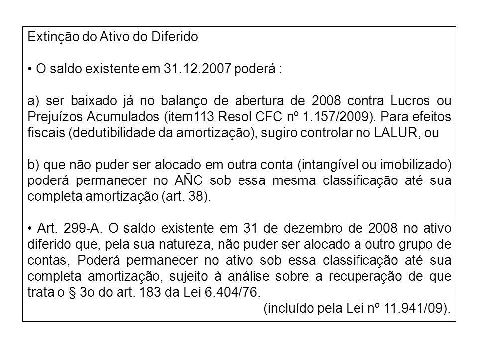 Extinção do Ativo do Diferido O saldo existente em 31.12.2007 poderá : a) ser baixado já no balanço de abertura de 2008 contra Lucros ou Prejuízos Acu