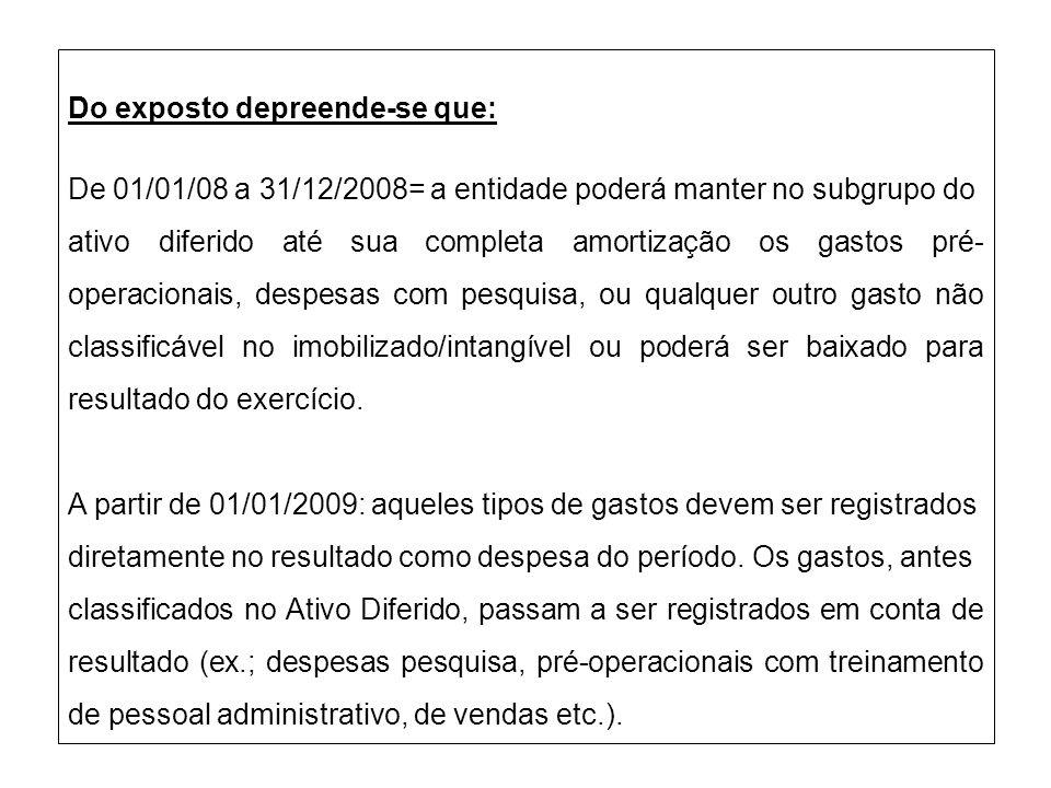 Do exposto depreende-se que: De 01/01/08 a 31/12/2008= a entidade poderá manter no subgrupo do ativo diferido até sua completa amortização os gastos p