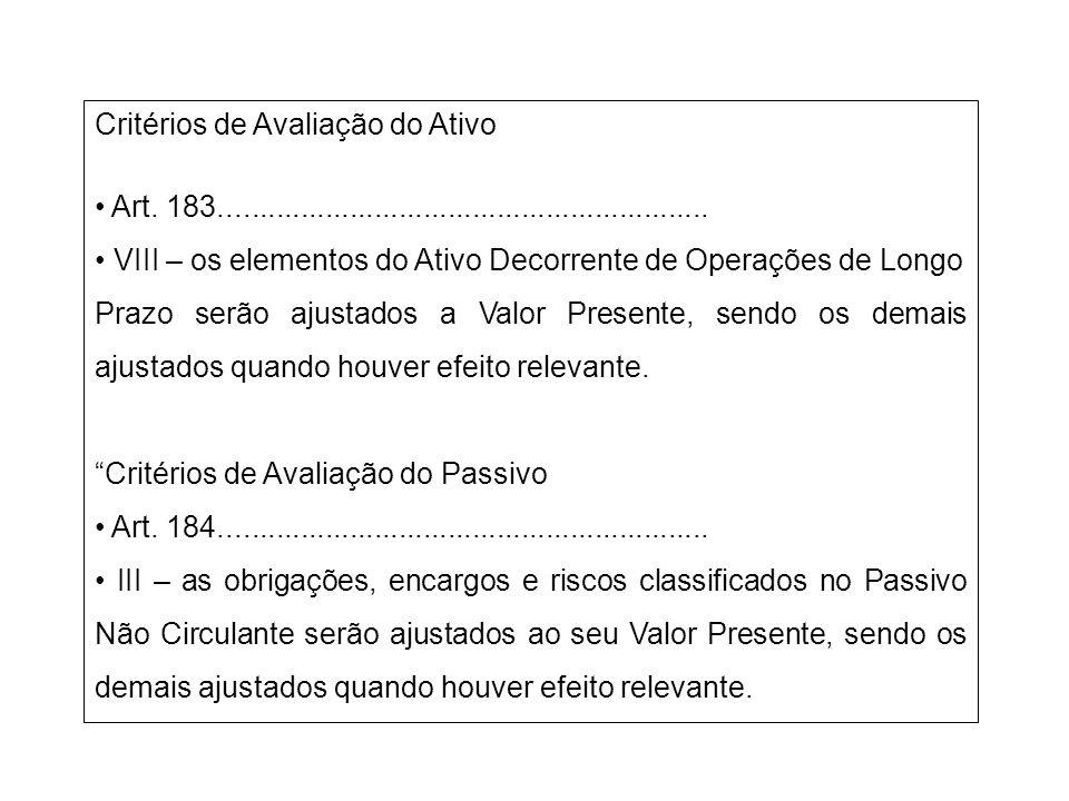 Critérios de Avaliação do Ativo Art. 183............................................................ VIII – os elementos do Ativo Decorrente de Operaç