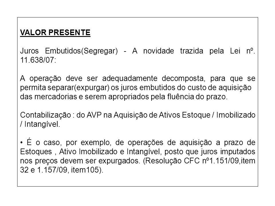VALOR PRESENTE Juros Embutidos(Segregar) - A novidade trazida pela Lei nº. 11.638/07: A operação deve ser adequadamente decomposta, para que se permit
