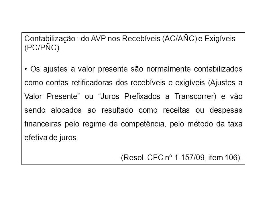 Contabilização : do AVP nos Recebíveis (AC/AÑC) e Exigíveis (PC/PÑC) Os ajustes a valor presente são normalmente contabilizados como contas retificado