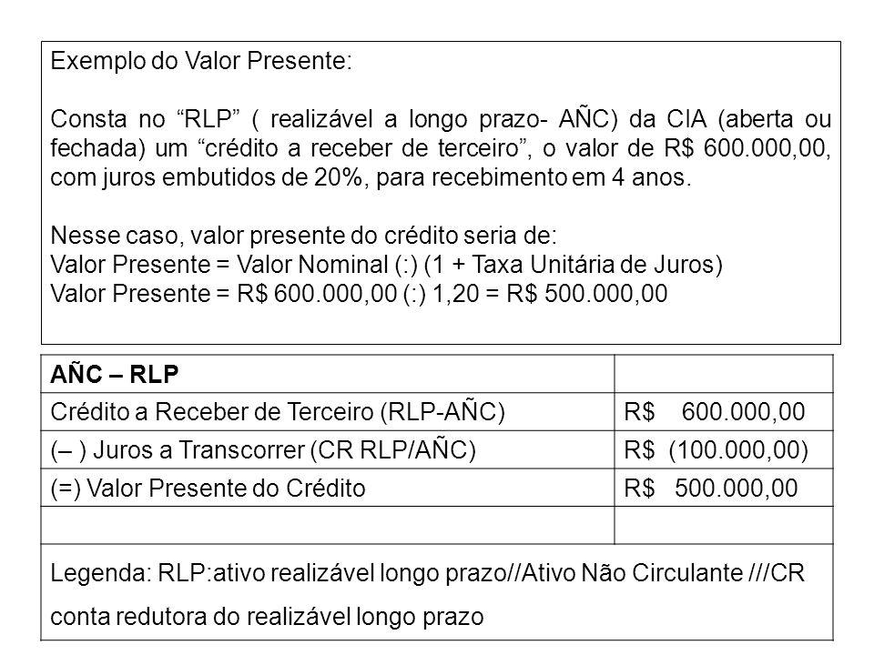 Exemplo do Valor Presente: Consta no RLP ( realizável a longo prazo- AÑC) da CIA (aberta ou fechada) um crédito a receber de terceiro, o valor de R$ 6