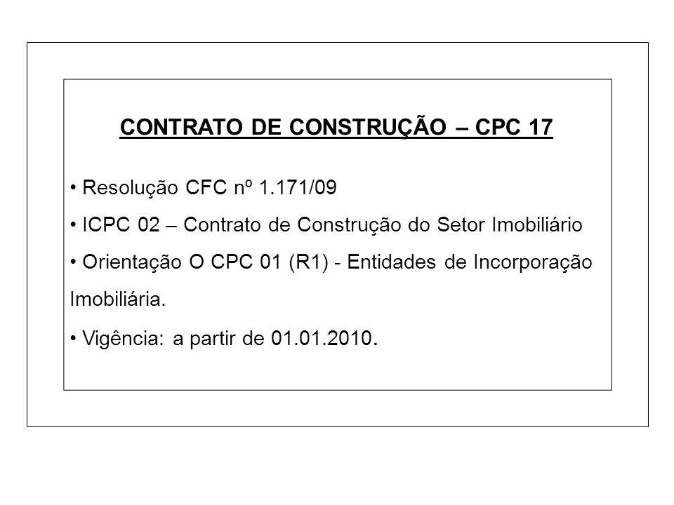 CONTRATO DE CONSTRUÇÃO – CPC 17 Resolução CFC nº 1.171/09 ICPC 02 – Contrato de Construção do Setor Imobiliário Orientação O CPC 01 (R1) - Entidades d