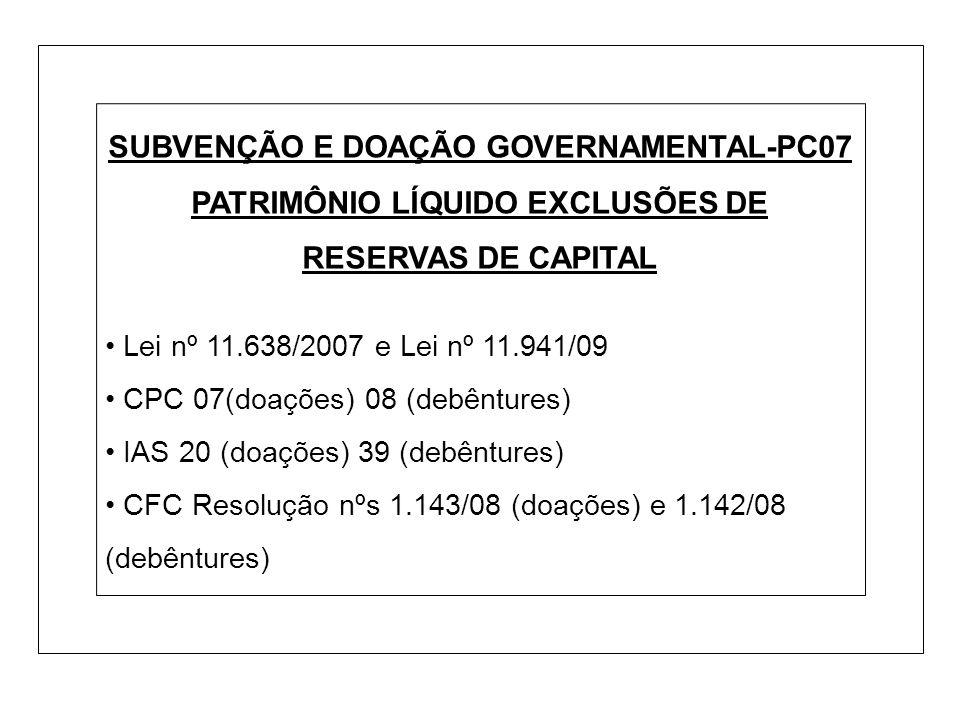 SUBVENÇÃO E DOAÇÃO GOVERNAMENTAL-PC07 PATRIMÔNIO LÍQUIDO EXCLUSÕES DE RESERVAS DE CAPITAL Lei nº 11.638/2007 e Lei nº 11.941/09 CPC 07(doações) 08 (de