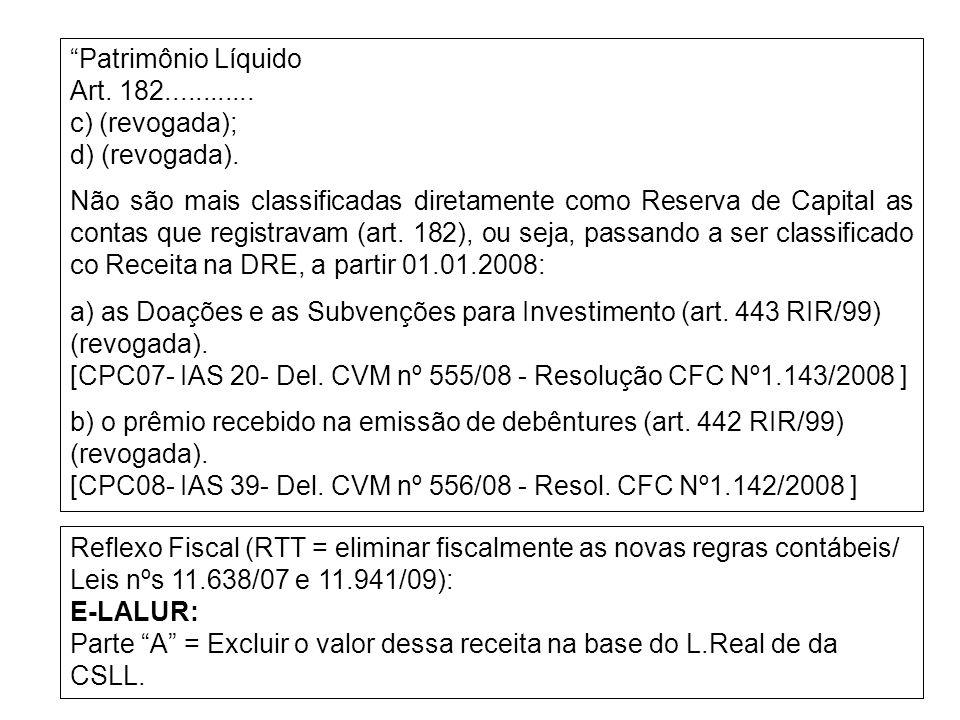 Patrimônio Líquido Art. 182............ c) (revogada); d) (revogada). Não são mais classificadas diretamente como Reserva de Capital as contas que reg