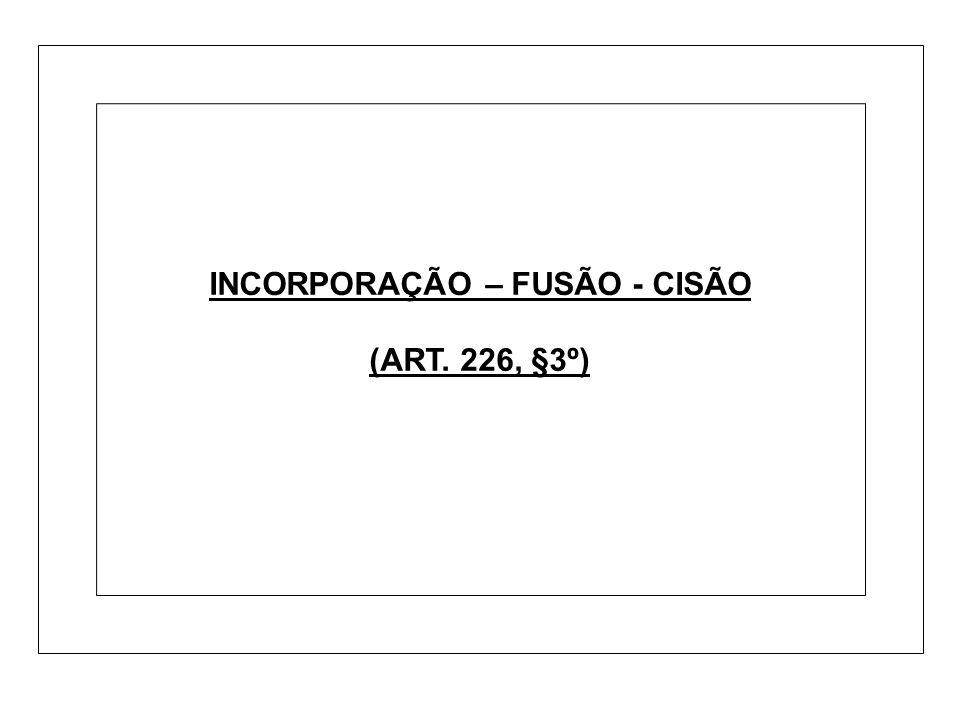 INCORPORAÇÃO – FUSÃO - CISÃO (ART. 226, §3º)
