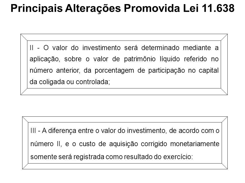 Principais Alterações Promovida Lei 11.638 II - O valor do investimento será determinado mediante a aplicação, sobre o valor de patrimônio líquido ref