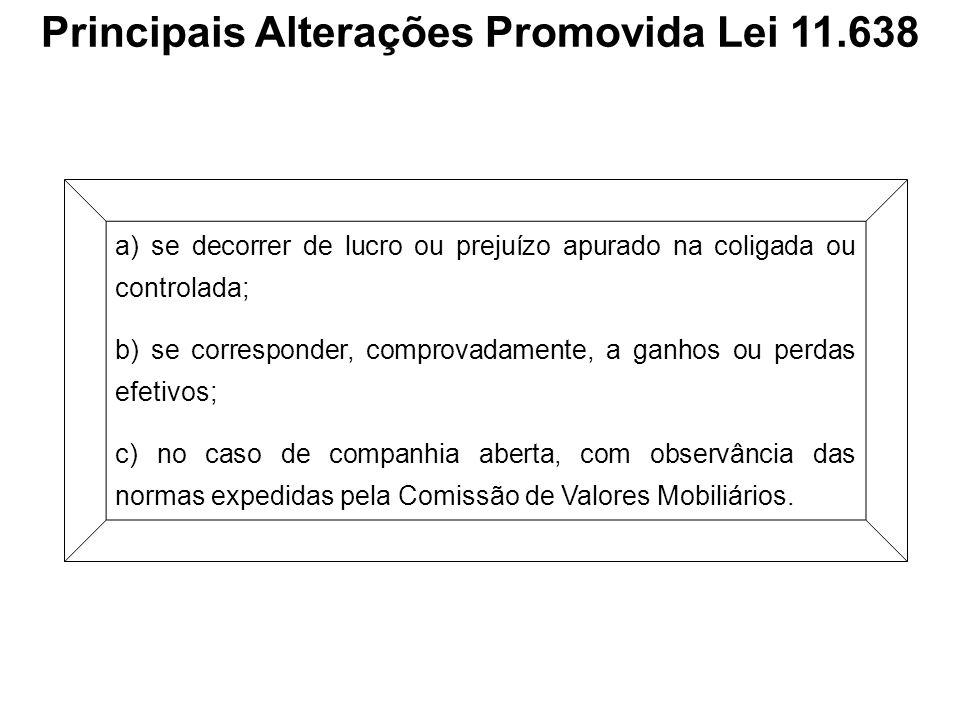 Principais Alterações Promovida Lei 11.638 a) se decorrer de lucro ou prejuízo apurado na coligada ou controlada; b) se corresponder, comprovadamente,