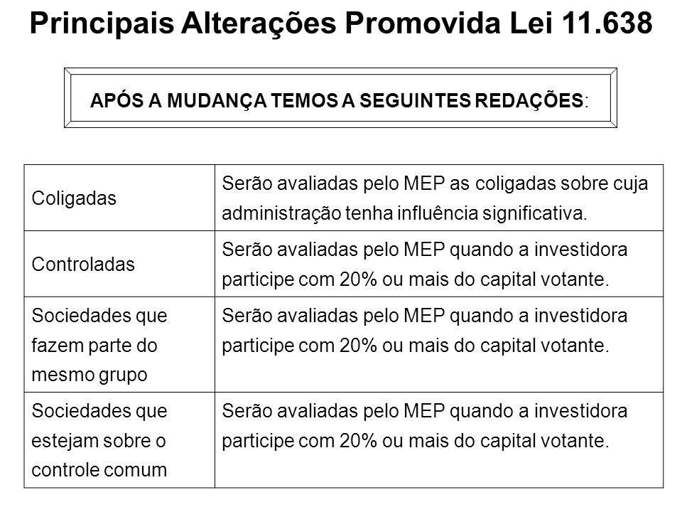 Principais Alterações Promovida Lei 11.638 APÓS A MUDANÇA TEMOS A SEGUINTES REDAÇÕES: Coligadas Serão avaliadas pelo MEP as coligadas sobre cuja admin