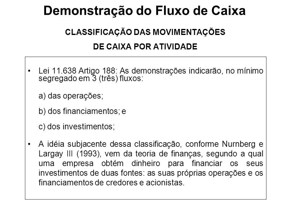 CLASSIFICAÇÃO DAS MOVIMENTAÇÕES DE CAIXA POR ATIVIDADE Lei 11.638 Artigo 188: As demonstrações indicarão, no mínimo segregado em 3 (três) fluxos: a) d