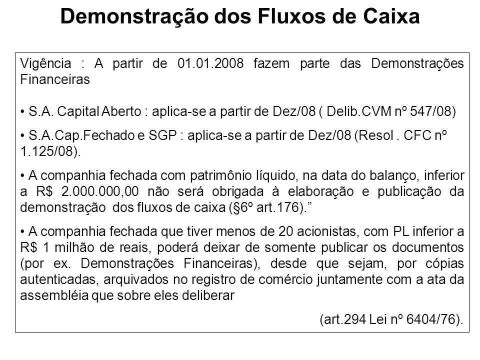 Demonstração dos Fluxos de Caixa Vigência : A partir de 01.01.2008 fazem parte das Demonstrações Financeiras S.A. Capital Aberto : aplica-se a partir