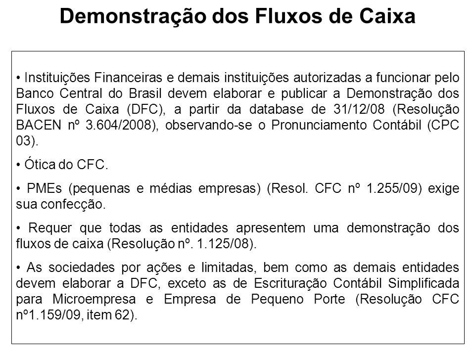 Demonstração dos Fluxos de Caixa Instituições Financeiras e demais instituições autorizadas a funcionar pelo Banco Central do Brasil devem elaborar e